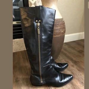 Michael KORS Tall Black Riding Boots Leather SZ 10